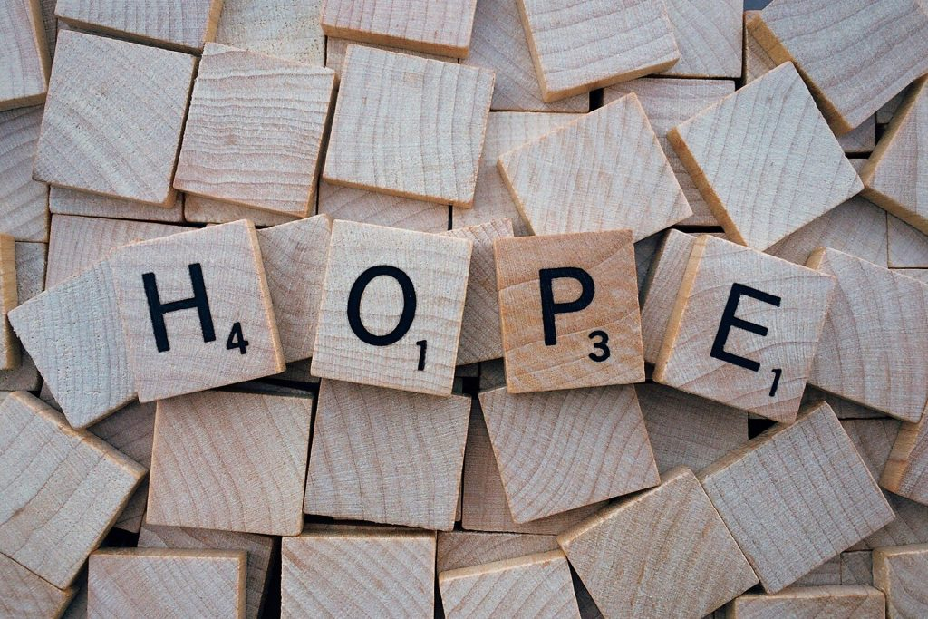 Hope on scrabble tiles